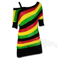 Rasta and Reggae Multi Stripe Unbalanced Tunic Top @ RastaEmpire.com