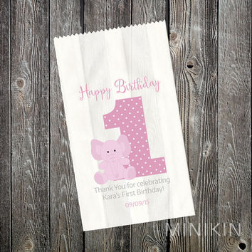 First 1st Birthday Party Supplies Lolly Bags Elephant Favour Cake Girls Pink Personalised White Paper Favor Small 80mm x 140mm