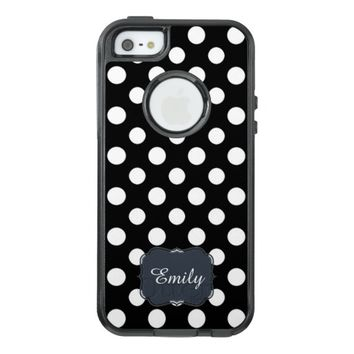 Black and White Polka Dot Pattern Monogram OtterBox iPhone 5/5s/SE Case