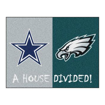 Dallas Cowboys - Philadelphia Eagles NFL House Divided Rugs 33.75x42.5