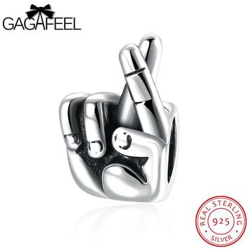GAGAFEEL Gesture Bead 925 Sterling Silver Jewelry Fit For Pandora Necklace Bracelet Chains Good Lucky Beads Women Men Jewelry