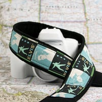 Elvis Camera Strap, dSLR, SLR, Baby Blue, Camera Neck Strap, Canon, Nikon,Pocket, Quick Release, Green, Black, 180 w