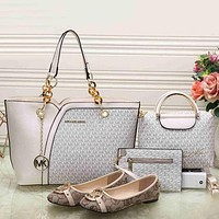 Perfect MK Women Leather Tote Satchel Crossbody Handbag Shoes Wallet Four Piece Suit