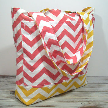 Coral and Yellow Bag, Large Beach Bag, Beach Tote Bag, Bridesmaid Tote Bag, Bag for Summer, Chevron Beach Bag, Chevron Tote Bag, Coral Bag