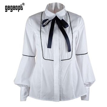 Office Lady Blouse Turn Down Collar Bow Tie Lantern Sleeve Shirt Women Slim White Tops