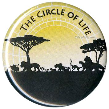 "Licensed cool Disney LION KING THE CIRCLE OF LIFE SILHOUETTE   1 1/4"" Button Pin Lanyard Charm"