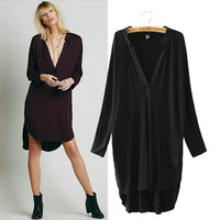 Stylish Split Irregular Deep V Women's Fashion One Piece Dress [5013228292]