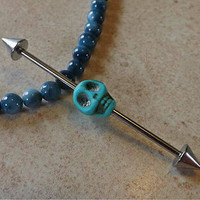 Turquoise Skull Industrial Piercing Barbell 14ga Body Jewelry Ear Jewelry 1 1/2""