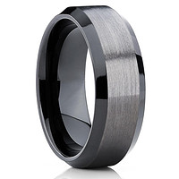 10mm - Black Tungsten Wedding Band - Gray Wedding Band - Gun Metal Ring