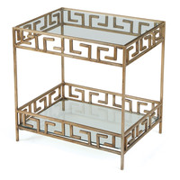 Parker Greek Key Glass Side Table