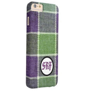 Monogrammed Plaid Wool Fabric Texture Barely There iPhone 6 Plus Case