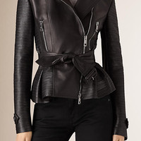 Strip-stitched Detail Leather Biker Jacket
