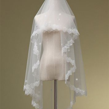 White wedding veils tulle appliques one layer wedding veil long lace bridal veil wedding accessories