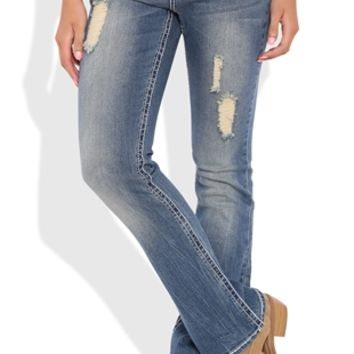 Vanilla Star Bootcut Jean with Subtle Destruction