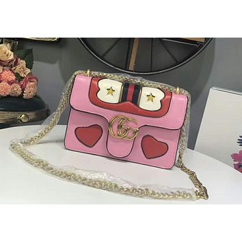 GUCCI 2018 new fashion wild small square bag shoulder bag F-AGG-CZDL Pink