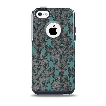 The Teal Leaf Foliage Pattern Skin for the iPhone 5c OtterBox Commuter Case