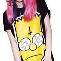 Black Yellow White Punk Style Bart Simpson Crosses Graphic Loose T-shirt Top