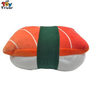 Plush Japan Rice Sushi Salmon Toy Stuffed Doll Office Nap Hand Pillow Pad Home Shop Restaurant Decor Kids Birthday Gift Triver