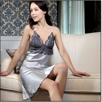 Lace Casual Pajamas Sexy Faux Silk Womens Sleepshirts Nightgown Sleepwear