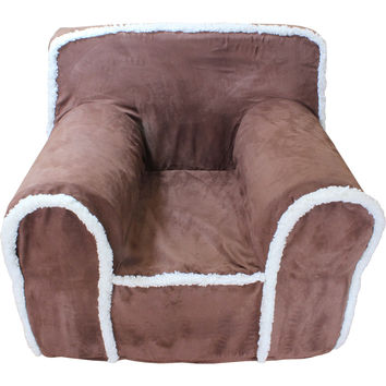 Small Chocolate Suede Sherpa Chair Cover for Foam Childrens Chair