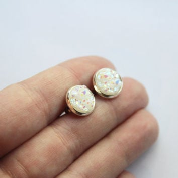 NEW - Opal White Chunky Faux Druzy Glitter Earrings - Posts/Studs 10mm - MEDIUM