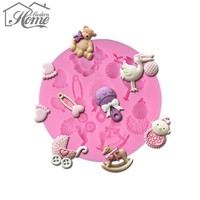 Birthday Baby Toy 3D Silicone Molds Kitchen Bakeware Fondant Chocolate Cookie Molds Baby Shower Kids Cake Decorating Tools DIY
