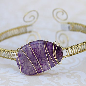 Amethyst Bangle, Gold and Aluminum Cuff Style Bangle, Amethyst Fire Agate Wire Wrap Bangle Bracelet
