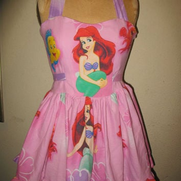 Custom Made to order Ariel The Little Mermaid SweetHeart Ruffled Mini Dress