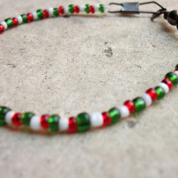 Unisex Green, White and Red bracelet made from Murano glass beads and a stainless steel fishing snap Handcrafted in Venice Italy