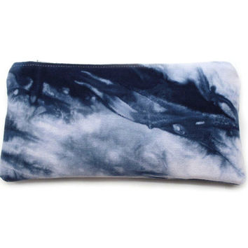 Navy Zipper Pouch, Small Cotton Pouch, Dyed Cosmetic Case, Blue Shibori Pouch, Soft Pencil Case, Shibori Boho Clutch, Small Makeup Case