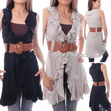 SeXY WoMeNS ViNTaGe STY RuFFLe CoLLaR BuTToN BeLTeD LoNG ToP SHiRT BLouSe S,M,L