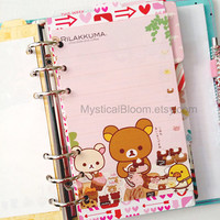 Cute Kawaii Rilakkuma Bear Filofax Refills. Personal Pocket Planner Size. Chocolate & Coffee Themes. Stationary Diary, Organizer Scheduler.