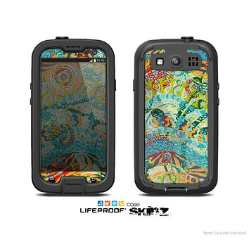 The Vector Teal & Green Snake Aztec Pattern Skin For The Samsung Galaxy S3 LifeProof Case