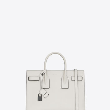 cheap yves saint laurent bags - classic small sac de jour bag in dove white and black leather