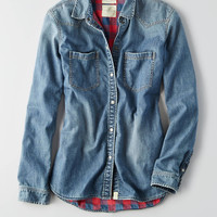 AEO Chambray Button Down Shirt , Medium Wash