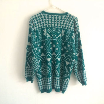 1980s SOUTHWESTERN tribal oversized HIPSTER sweater cardigan