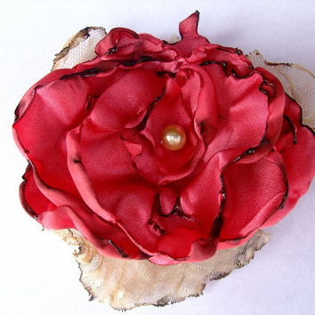 Wedding Hair Accessory, Coral Flower, Made To Order
