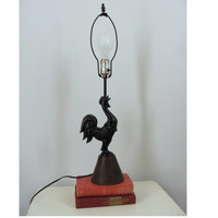 Vintage Metal Black Rooster Lamp with Wooden Base, Mid Century Lamp, MCM Lamp