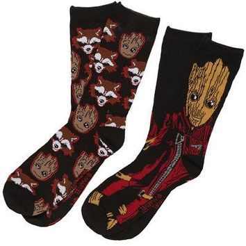 Guardians Of The Galaxy Baby Groot & Rocket Face Crew Socks - Black - 2 Pair
