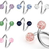 Body Colorz™ Lot of 7 Ultra Sparkle Spiral Twister Belly Navel Body Jewelry Piercing Bar Ring 14g: Jewelry: Amazon.com