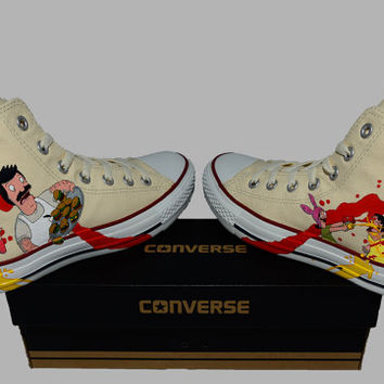 Hand Painted Converse Hi. Bobs Burgers. Bob, Linda, Tina, Gene, and Louise. Fox. v2 Handpainted shoes.