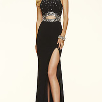 Long Jersey High Neck Open Back Halter Prom Dress by Mori Lee