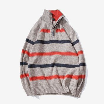 Men's Sweaters Male autumn & winter Zipper Pullover sweter Men's thickening casual Men jumper turtleneck knitted sweaters 6XL