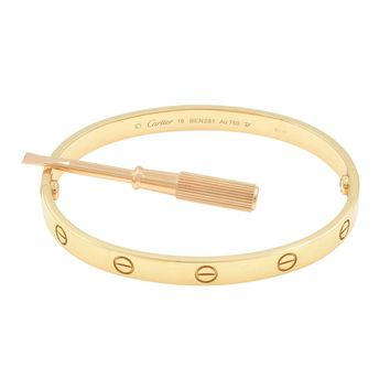 Cartier Love Bangle 18K Rose Gold Bracelet SZ 19