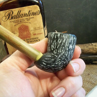 Outdoorsman Tobacco Pipe Hand Carved Stone Steatite by rekamepip