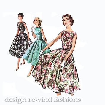 1950s Rockabilly Party Gown Optional Peek-a-Boo Keyhole Bateau Neckline Full Circle Skirt Fit & Flare Dress Bust 30 Easy Sewing Patterns
