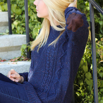Navy Elbow Patch Sweater