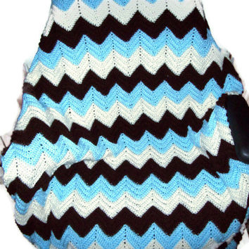 Crocheted Ripple Baby Blanket Blue, Brown, and White