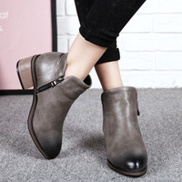 Gradient Zipper Thick Heeled Ankle Boots 2623