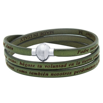 ZDW1002-OLV  OLIVE GREEN PADRE NUESTRO (LORD'S PRAYER) ENGRAVED LEATHER WRAP BRACELET